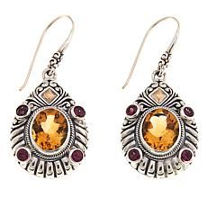 Bali Designs 6.64ctw Citrine & Rhodolite Drop Earrings