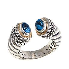 Bali Designs .8ctw Swiss Blue Topaz Cable Cuff Ring