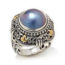 Bali Designs Blue Mabé Pearl 2-Tone Ring
