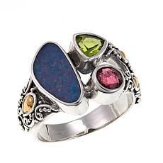 Bali Designs Blue Opal Doublet and Gem 2-Tone Ring