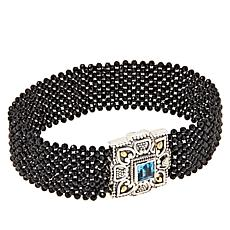 Bali Designs Blue Topaz and Black Spinel Woven Bracelet
