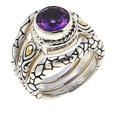 Bali Designs by Robert Manse 1.6ct Amethyst Cobblestone 3pc Ring