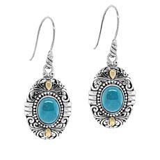 Bali Designs by Robert Manse Sterling Silver Oval Gem Drop Earrings