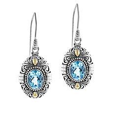 Bali Designs by Robert Manse Sterling Silver Oval Gem Drop Earrings