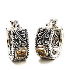 Bali Designs Citrine Small Scroll Hoop Earrings