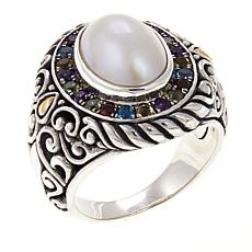 Bali Designs Cultured Mabe Pearl and Multigem 2-Tone Ring