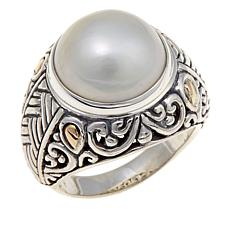Bali Designs Cultured Mabé Pearl Ring with 18K Accents