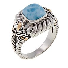 Bali Designs Larimar Sterling Silver Cable Ring
