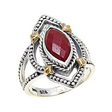 Bali Designs Marquise Red Corundum 2-Tone Ring