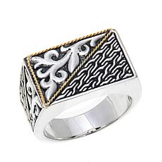 Bali Designs Men's 2-Tone Rectangular Shield Ring