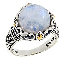 Bali Designs Rainbow Moonstone Sterling Silver Ring with 18K Accents