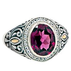 Bali Designs Rhodolite and White Topaz Scrollwork Ring