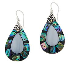 Bali Designs Sterling Silver Abalone and Mother-of-Pearl Drop Earrings