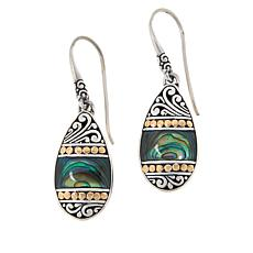 Bali Designs Sterling Silver and 18K Abalone Scroll Drop Earrings