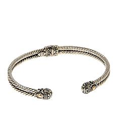 Bali Designs Sterling Silver and 18K Accent 2-Row Cable Cuff