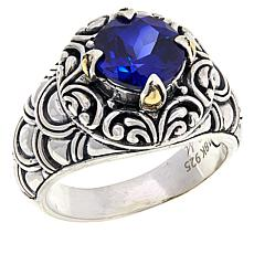 Bali Designs Sterling Silver and 18K Created Sapphire Ring