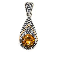 Bali Designs Sterling Silver and 18K Gem Popcorn Pattern Pear Pendant