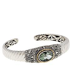 Bali Designs Sterling Silver and 18K Gold Oval Prasiolite Cable Cuff