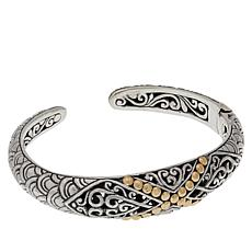 "Bali Designs Sterling Silver and 18K Gold ""X"" Cuff"
