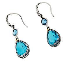 Bali Designs Sterling Silver Double Gemstone Drop Earrings