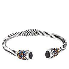 Bali Designs Sterling Silver Multi-Gemstone Hinged Cuff