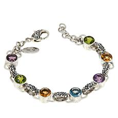 Bali Designs Sterling Silver Multi-Gemstone Tennis Bracelet