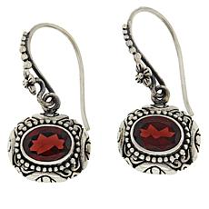 Bali Designs Sterling Silver Oval Garnet Scrollwork Drop Earrings