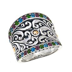 Bali RoManse  0.8ctw Multigem Wide Band 2-Tone Ring