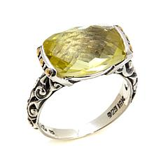 Bali RoManse 5.6ctw Cushion Lemon Quartz Ring