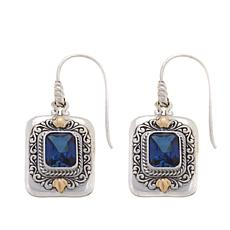 Bali RoManse 5ctw Created Blue Sapphire Drop Earrings