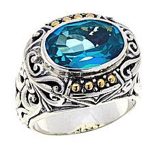 Bali RoManse 6.3ct Paraiba-Color-Coated Quartz Scrollwork Ring