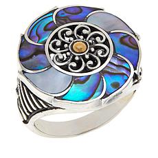 Bali RoManse Abalone and Mother-of-Pearl Flower Ring
