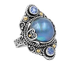 Bali RoManse Cultured Mabé Pearl and Tanzanite Ring
