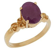 Bali RoManse Gold-Plated Oval Gem Scrollwork Solitaire Ring