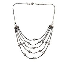 Bali RoManse Sterling Silver and 18K Beaded Layered Statement Necklace