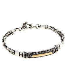 Bali RoManse Sterling Silver and 18K Byzantine Chain Bar Bracelet