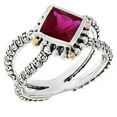 Bali RoManse Sterling Silver and 18K Created Gemstone Split Shank Ring