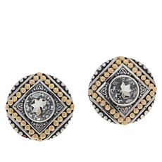 Bali RoManse Sterling Silver and 18K Gem Popcorn Pattern Stud Earrings