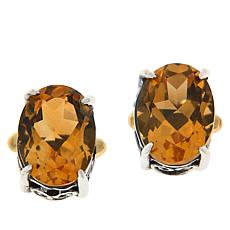 Bali RoManse Sterling Silver and 18K Gemstone Scroll Stud Earrings