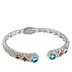 Bali RoManse Sterling Silver and 18K Gemstone Scrollwork Hinged Bangle