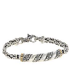 Bali RoManse Sterling Silver and 18K Gold Byzantine Chain Bracelet