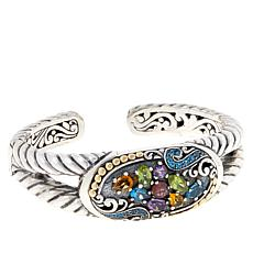 Bali RoManse Sterling Silver and 18K Multi-Gemstone Cluster Cuff