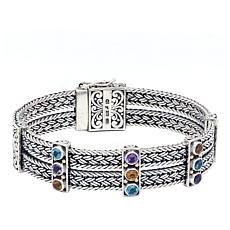 Bali RoManse Sterling Silver & 18K Multigem 2-Row Wheat Chain Bracelet