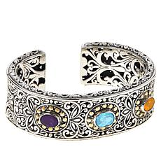 Bali RoManse Sterling Silver and 18K Multigem Scrollwork Hinged Cuff
