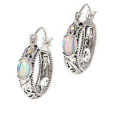 Bali RoManse Sterling Silver and 18K Opal Scroll Hoop Earrings
