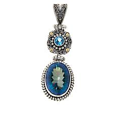 Bali RoManse Sterling Silver and 18K Oval Quartz and Gemstone Pendant