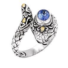 Bali RoManse Sterling Silver and 18K Tanzanite Snake Bypass Ring