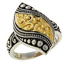 Bali RoManse Sterling Silver and 18K Two-Tone Scrollwork Ring