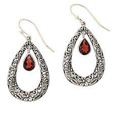 Bali RoManse Sterling Silver Gemstone Open Teardrop Earrings