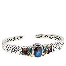 Bali RoManse Sterling Silver Labradorite and Multigem Cuff Bracelet